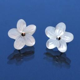 Pendientes Flor de Nácar Blanca