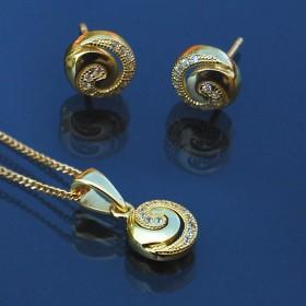 Conjunto Plata Espiral dorado