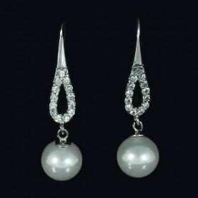 Pendientes Gotas de Circonitas con Perla